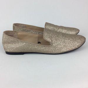Express Gold Glitter Ballet Flats 8